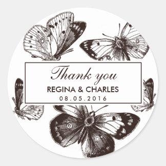 Het vintage Bruine Huwelijk van de Vlinder dankt u Ronde Sticker