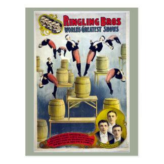 Het Vintage Circus van Bros van Ringling Briefkaart