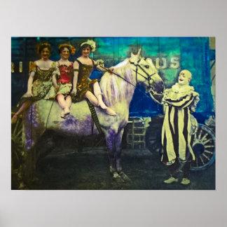 Het vintage Circus vijzelt de Clown en Drie Queens Poster
