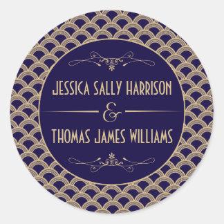 Het vintage Collectie van het Huwelijk van Gatsby Ronde Sticker