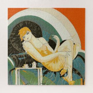 Het vintage Doen leunen van de Vrouw van het Art Puzzel