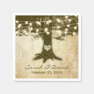 Het vintage Eiken Huwelijk van de Lichten van het Papieren Servet
