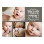 Het VINTAGE Elegante Baby van de Foto dankt u Wens Kaarten