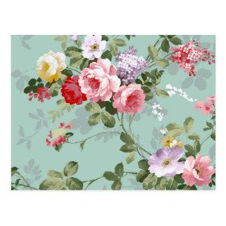 Het vintage Elegante Rozerode Patroon van Rozen Briefkaart