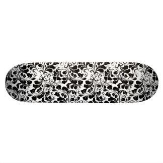 Het vintage elegante zwart-witte patroon van skateboard
