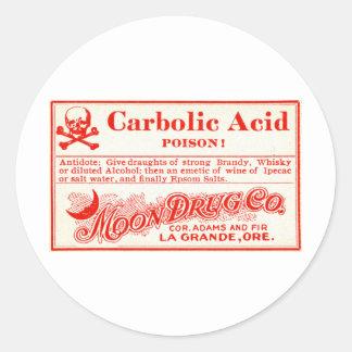 Het vintage Etiket van het Vergift van de Carbol Ronde Sticker
