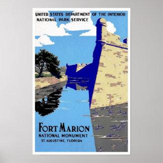Het vintage Fort Marion National Park van de Druk  Poster