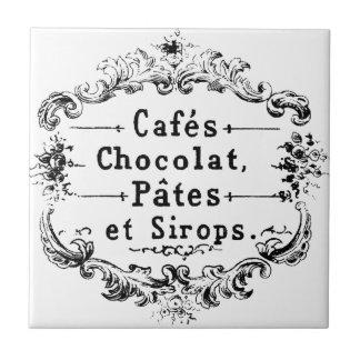 Het vintage Franse Etiket van de Koffie & van de Keramisch Tegeltje