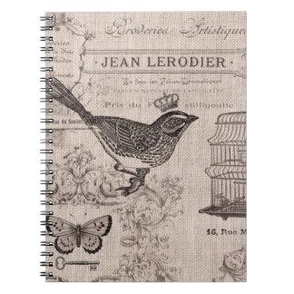 Het vintage Franse notitieboekje van de Vogel Ringband Notitie Boeken