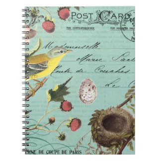 Het vintage Franse notitieboekje van Vogels Ringband Notitieboek