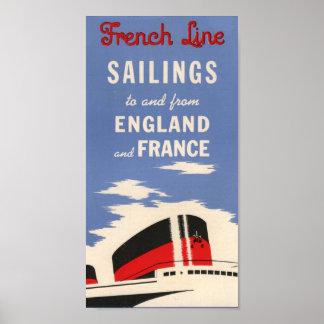 Het vintage Franse Poster van de Lijnboot van de L