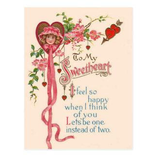 Het vintage Gedicht van Valentijn Briefkaart