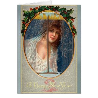 Het vintage Gelukkige Begroeten van Nieuwjaren Briefkaarten 0