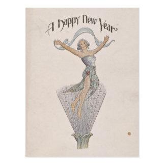 Het vintage Gelukkige Briefkaart van het Nieuwjaar