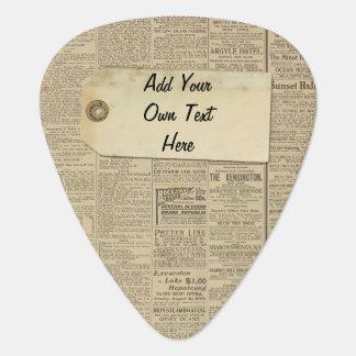 Het vintage Gepersonaliseerde Etiket van het Plectrum