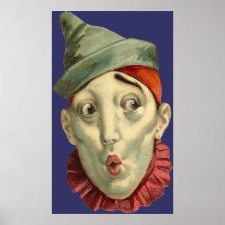 Het vintage Gezicht van de Clown Poster
