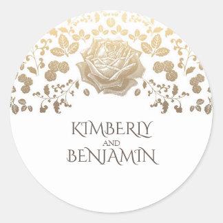 Het vintage Gouden Witte Elegante Huwelijk van Ronde Sticker
