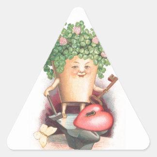 Het vintage Hart van de Klaver en Zeer belangrijke Driehoekvormige Stickers