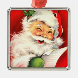 Het vintage het Knipogen van de Kerstman Ornament