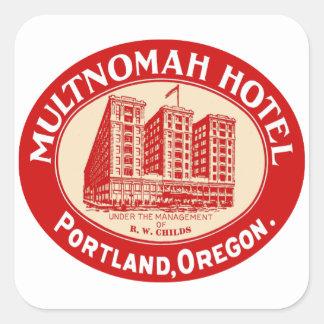 Het vintage Hotel Multnomah Portland van Hotels OF Vierkante Sticker