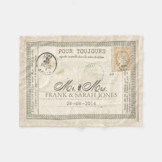 Het vintage Huwelijk het Frans van het Briefkaart Fleece Deken