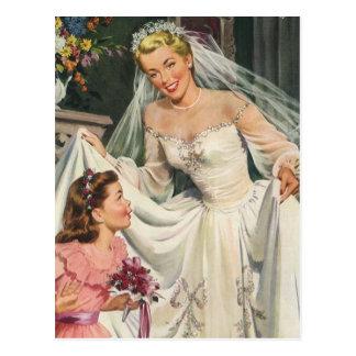 Het vintage Huwelijk, het Meisje van de Bloem van Briefkaart