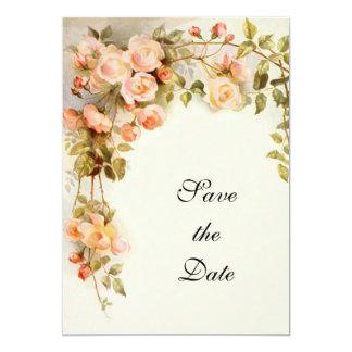 Het vintage Huwelijk, Roze nam Bloemen, sparen de Kaart