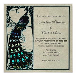 Het vintage Huwelijk van de Jugendstil van de Pauw 13,3x13,3 Vierkante Uitnodiging Kaart