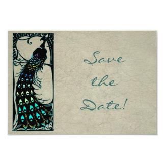 Het vintage Huwelijk van de Pauw van de Jugendstil 8,9x12,7 Uitnodiging Kaart