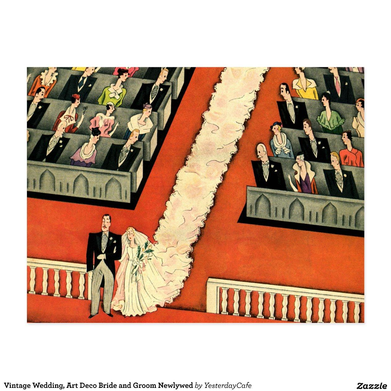 Het vintage huwelijk van het art deco de briefkaart zazzle - Deco van het appartement ...