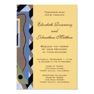 Het vintage Huwelijk van het Patroon van de Jazz 12,7x17,8 Uitnodiging Kaart