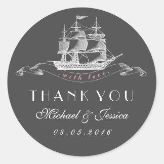 Het vintage Huwelijk van het Schip dankt u het Ronde Sticker