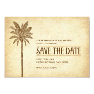 Het vintage Huwelijk van het Strand bewaart de 12,7x17,8 Uitnodiging Kaart
