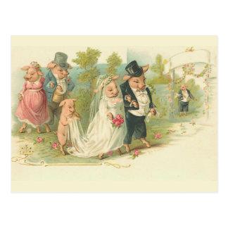 Het vintage Huwelijk van Varkens Wenskaart
