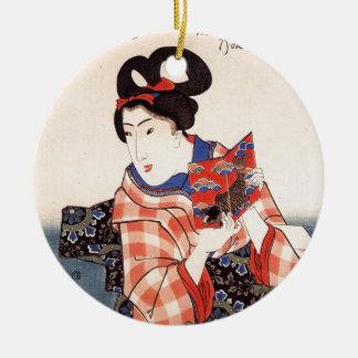 Het vintage Japanse Art. van het Meisje van de Rond Keramisch Ornament