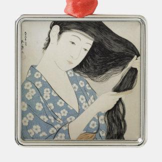 Het vintage Japanse Art. van het Meisje van de Zilverkleurig Vierkant Ornament