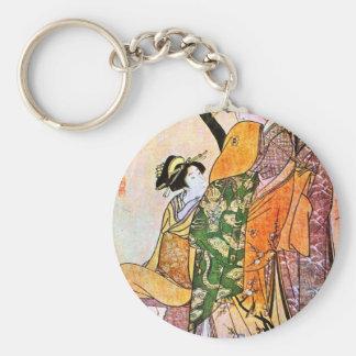Het vintage Japanse Kunstwerk van de Geisha Sleutelhanger