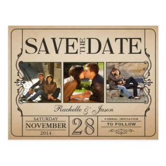 Het vintage Kaartje bewaart de Datum -- 3 Briefkaart