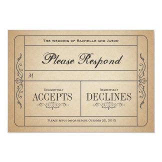 Het vintage Kaartje RSVP van het Huwelijk Uitnodigingen