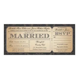 Het vintage Kaartje van het Huwelijk met RSVP 10,2x23,5 Uitnodiging Kaart