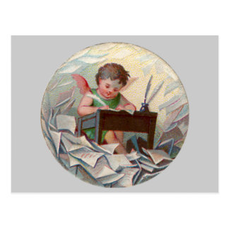 Het vintage Kind die van de Engel bij Bureau Briefkaart
