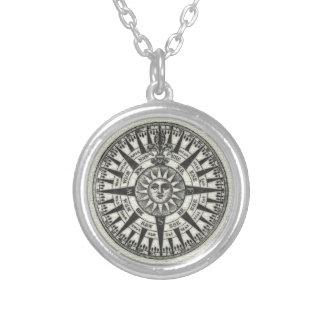 Het vintage Kompas nam Zon toe Zilver Vergulden Ketting