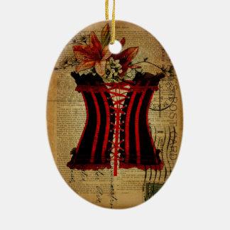 Het vintage korset van de Partij van de Keramisch Ovaal Ornament
