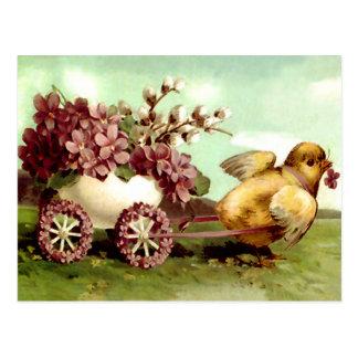 Het vintage Kuiken van Pasen en de Wagen van de Briefkaart
