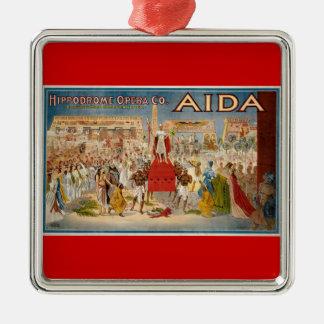 Het vintage Kunstwerk van Aida van de Opera Zilverkleurig Vierkant Ornament