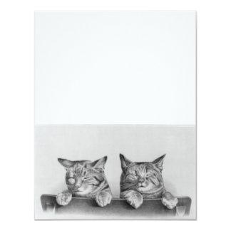Het vintage Kunstwerk van Katjes 10,8x13,9 Uitnodiging Kaart