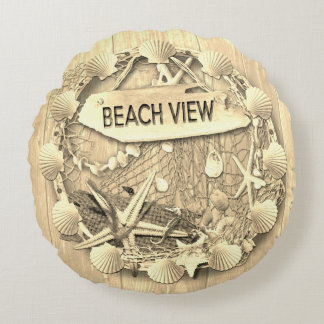 Het vintage Kussen van het Strand - het Uitzicht