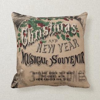 Het vintage kussen van Kerstmis, muzikaal