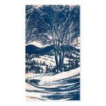 Het vintage Landschap van Kerstmis, de Bergen van  Visitekaart Sjablonen