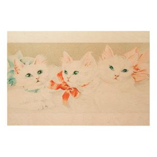 Het vintage leuke de katjes van de katkat antiek hout print